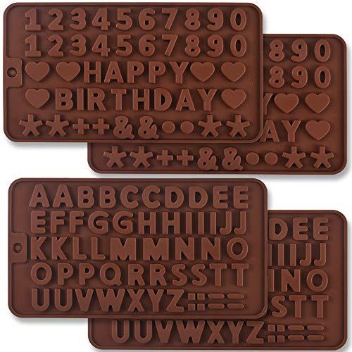 Newk Moldes de silicona con letras y números, 4 paquetes de moldes de silicona para decoraciones de tartas de cumpleaños