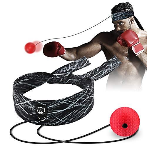 SYOSIN Boxen Reflex Ball Mit verstellbarem Stirnband Boxen Training Speedball Boxen Reaktionstraining MMA Auge-Hand-koordinationstraining, Einfach Zu Bedienen Für Kinder/Erwachsene (Schwarz)
