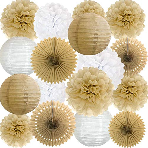 ANSOMO Rustic Paper Party Decorations for Bridal Baby Shower Birthday Wedding, Pom Poms Paper Fans Lanterns, White and Tan