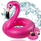Anillo Flamingo aprox.110 cm Piscina inflable Flamingo y anillo de natación acuático con portavasos para adultos y niños