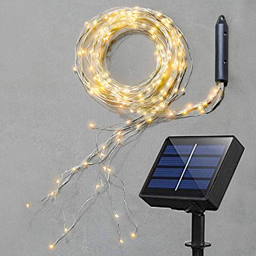 Soltuus Solar Fairy String Lights, Multi Strand Watering Can Light 180 LEDs Outdoor, Waterproof Solar Powered Waterfall Fairy Lights, Warm White Firefly Bunch Lights