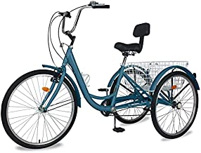Barbella Adult Tricycle, 24-Inch Single and 7 Speed Three-Wheeled Cruise Bike with Large Size Basket for Recreation, Shopping, Exercise Men's Women's Bike (Peacock Green, 24