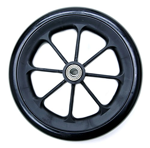 Karman Healthcare Solid Black Caster with 7/16 Bearing, 8 x 1 Inch, 1 Pound; Fits Most Medline, Drive, Invacare, E&J, Guardian, Tuffcare, ALCO & Other Manual Wheelchairs