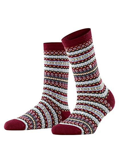 Burlington Damen Country Fair Isle Socken, rot (Merlot 8005), Einheitsgröße (DE 36-41)