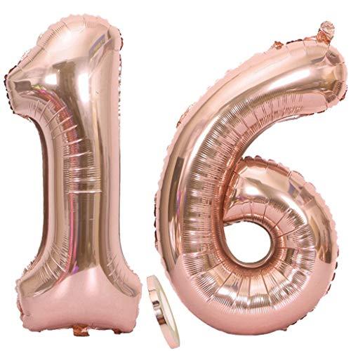 Ouceanwin 2 Luftballons Zahl 16 Rosegold, Riesen Nummer 16 Luftballons Roségold 40