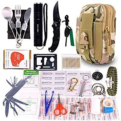 GULAKI Emergency Survival Kit, Portable Outdoor Camping Survival Gear Kits for Hiking Travel Adventure