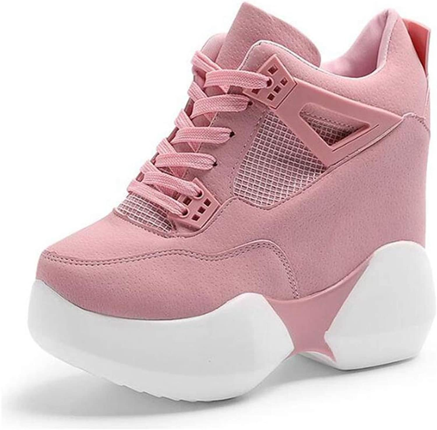 ASO-SLING Women's Fashion Platform Wedge Sneaker High Top Lace Up Flats Casual shoes Thick Sole Trainers