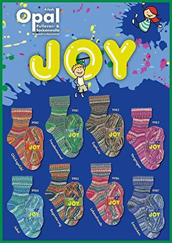 8 x 100g Sockenwolle Paket Opal Joy, 800g Sockenwolle mulesingfrei, 4fädig, musterbildend zum Stricken oder Häkeln