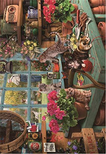 N/R Puzzels 1500 Stukken Voor Volwassenen,Vensterbank Cat Klassieke Puzzel Speelgoed Cadeau Geef Kinderen Geweldige Educatieve Geschenken 52x38Cm