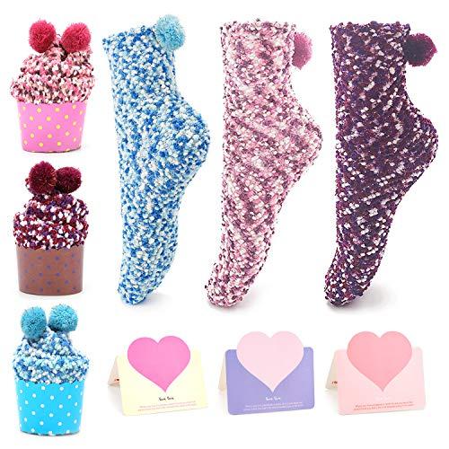 QKURT 3pcs Lustige Kuchen Socken, Cupcakes Design Mädchen Socken Weihnachtssocken mit Geschenkbox 3pcs Geschenkkarten zum Geburtstag Valentinstag Geschenk