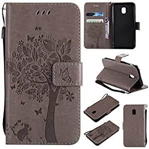 BONROY Case Samsung Galaxy 2017 J330  EU Model  Flip Leather Case  Shockproof Bumper Cover and Premium Wallet Case for Samsung Galaxy 2017 J330  EU Model -Gray