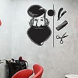 WERWN Hombre Barbudo calcomanía de Pared Herramientas de Afeitado peluquería peluquería decoración de Interiores Puertas y Ventanas Pegatinas de Vinilo Arte Papel Tapiz de Dibujos Animados