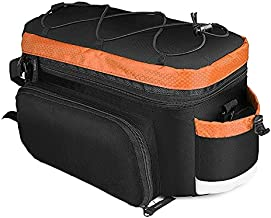 Oeternity Bike Trunk Bag 15L Extendable Large Capacity Saddle Bags Waterproof Bicycle Rear Rack Luggage Carrier Perfect for Cycling, Traveling, Commuting, Camping and Outdoor,Orange
