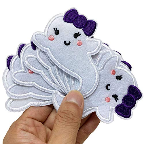 "2.6""x3.3"" 12pcs Halloween Ghost Boo Girly Baby Iron On Sew On Cloth Embroidered Patches Appliques Machine Embroidery Needlecraft Sewing Girl DIY"