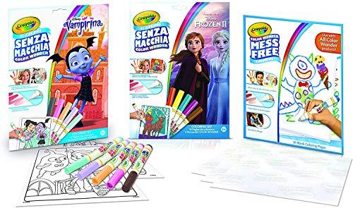 CRAYOLA Color Wonder - Kit sans Tache : Frozen 2, Vampirina, Album de Recharge de 30 Pages, activité créative pour la Maison, âge 3,4,5 Ans