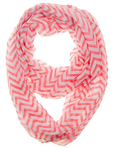 Caramel Cantina Soft Chevron Sheer Infinity Scarf (Coral/White)