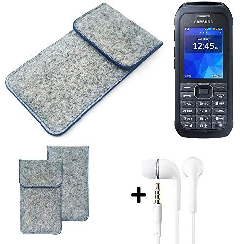 K-S-Trade Filz Schutz Hülle Für Samsung Xcover 550 Schutzhülle Filztasche Pouch Tasche Handyhülle Filzhülle Hellgrau, Blauer Rand + Kopfhörer