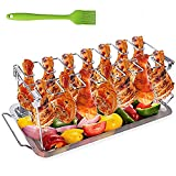 Hähnchenschenkel Halter für Backofen & Grill, Hähnchenbräter aus Edelstahl, Hähnchenhalter für 14 Keulen, Hähnchenkeulenhalter mit Auffangschale, Hähnchen Grill Ständer & BBQ Rack with BBQ-Pinsel