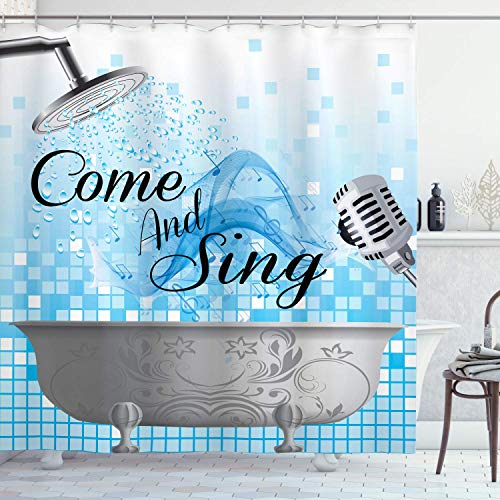 Alvaradod Sprichwort Duschvorhang,Badewanne Design mit Einer Come and Sing Nachricht Happy Style Typografie,Stoff Stoff Badezimmer Dekor Set mit,Blaugrau mit 12 Kunststoffhaken 180x180cm
