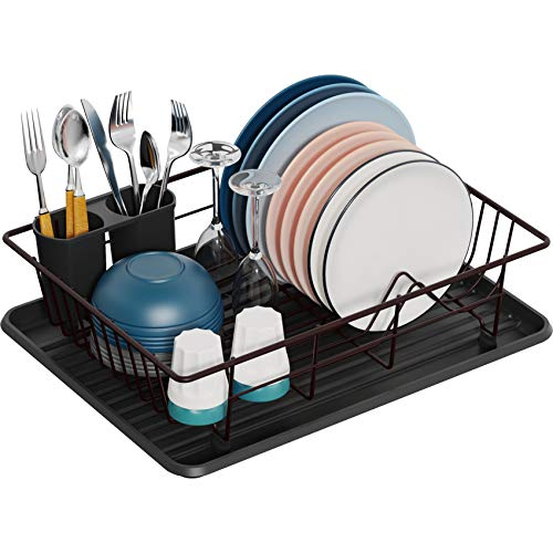 Dish Drying Rack, GSlife Small Dish Rack with Tray Dish Drainer for Kitchen Countertop,Bronze