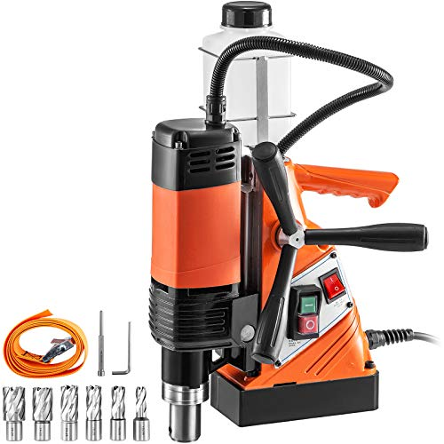 VEVOR Magnetic Drill Press 1100W Magnetic Base Drill 10000N Magnet Force 6PCS Cutter Kit Mag Drill with 1-1/3 inch (35mm) Boring Diameter 700 RPM Portable Electric Mag Drill Press w/6PCS Cutter Kit
