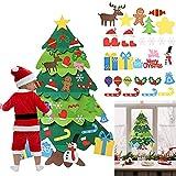 AFASOES Arbol Navidad Fieltro para Pared 94x70 cm Pino de Fieltro Navideños con 32 Adornos Arbol Navidad Velcro Árbol Fieltro Pared Arbol Navidad Fieltro Diy para Decoración de Navidad Puerta y Pared