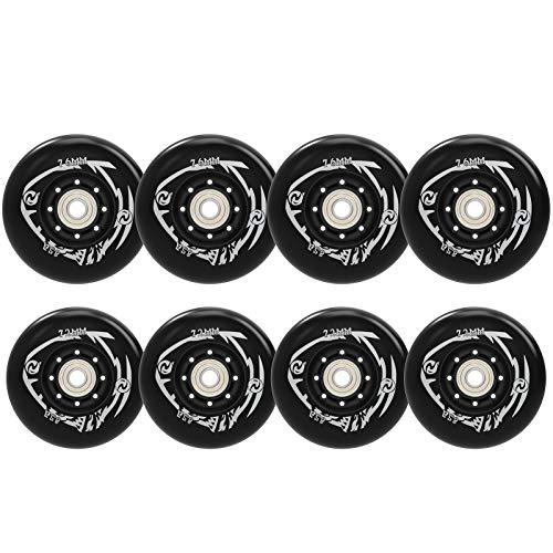 Damsale 8Pcs76mm+80mm Inline Skate Wheels Outdoor Asphalt Formula 85A...