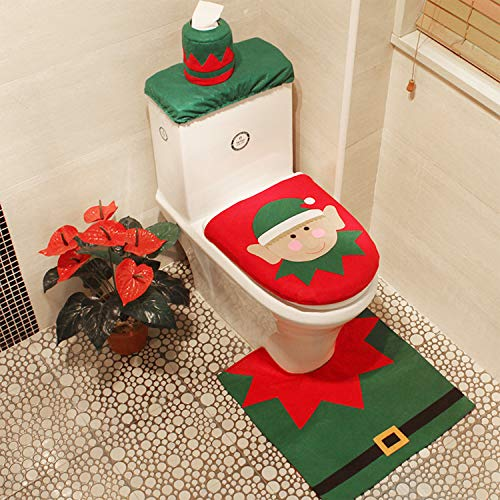3-Piece Christmas Elf Toilet Seat Cover Toilet Tank Cover and Rug Elf Bathroom Sets for Christmas Decorations