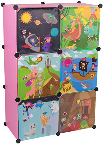 KEKSKRONE Großer Kinderschrank Bunte Motiv-Türen - DIY Stecksystem - 6 Module je 37 x 37 x 37 cm, Rosa | Kinderzimmer-Schrank | Kinderkleiderschrank |...
