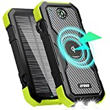 Solar Power Bank, 30000mAh Portable Phone Charger, 10W Qi Wireless Phone Charger with LED Flashlight, QC 18W Output, IPX6 Waterproof Power Bank for iPhone, Samsung, Tablet and Camping, Cycling