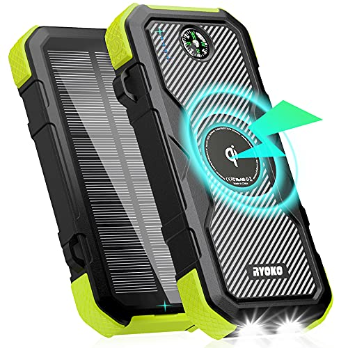 Solar Power Bank 30000mAh,Portable Solar Charger QC 18W Output,10W Qi Wireless Solar Phone Charger for Camping Outdoor, Waterproof Power Bank with Dual LED Flashlights & Compass,Solar Panel Charging