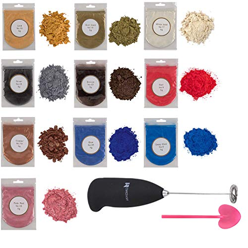 Metallic epoxy resin color pigment 10 colors Gold, Silver, Blue and Red resin dye collections metallic Mica powders for lip gloss with mixing supplies, Resin kit