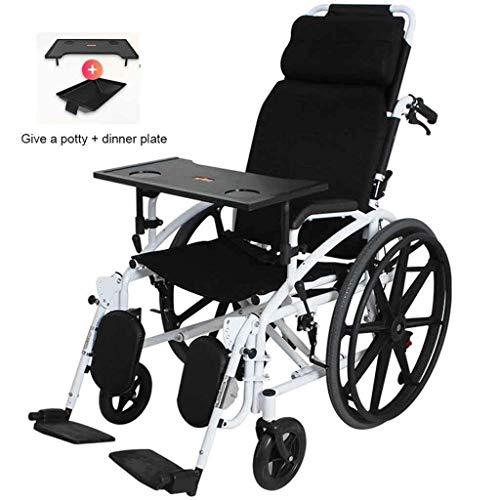 IOFESINK Walker Chair Wheelchair Tragbarer multifunktionaler Rollstuhl Wagen mit Fußstütze, leichtem, voll liegendem Rollstuhl Wagen, Armen und Aufstehhilfen, angetriebenem Rollstuhl Wagen