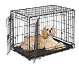 french bulldog for sale - Dog Crate | MidWest ICrate 30 Inch Double Door Folding Metal Dog Crate w/ Divider Panel, Floor Protecting Feet & Leak Proof Dog Tray | 30L x 19W x 21H Inches, Medium Dog Breed, Black