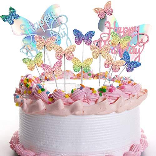 YUESEN Decoraciones para Tartas Cumpleaños Happy Birthday Butterfly Cake Decoration Card Fiesta de Cumpleaños Decoración De La Torta del Banquete de Boda (12 Piezas)