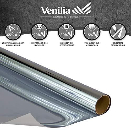 Venilia Klebefolie Tönung Fenster Sonnenschutzfolie getönt, Fensterfolie schützt vor Sonneneinblendung und eindringen von Wärme, inkl. Cutter und Schaber, PVC, 1 x 2 m, 53437