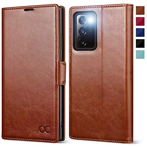 OCASE Handyhülle kompatibel für Samsung Galaxy Note 20 Ultra Hülle, [Premium PU Leder] [Standfunktion] [Kartenfach] [Magnetverschluss] Flip Hülle Schutzhülle für Galaxy Note20 Ultra 5G Tasche Braun