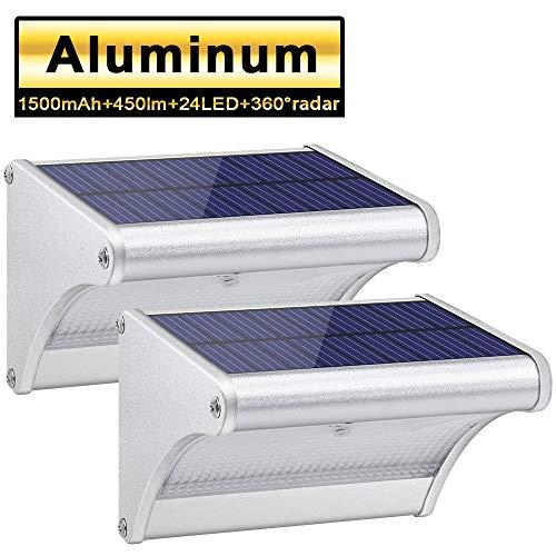 Licwshi 450lm La Luz Solar 24 LED de Aleación de Aluminio, Impermeable al Aire Libre, Radar de Sensores de Movimiento, Aplicable en el Porche, el Jardín, el Patio, el Garaje (2 Pack)