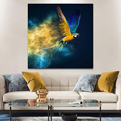 Impresión en lienzo colorido loro volador lienzo pintura arte abstracto guacamayos carteles pájaros imágenes para la decoración de la pared de la sala de estar 35x35 cm sin marco