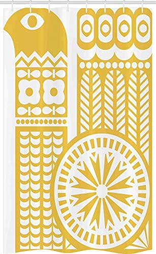 ABAKUHAUS Gelb & Weiß Schmaler Duschvorhang, Abstrakter Vogel, Badezimmer Deko Set aus Stoff mit Haken, 120 x 180 cm, Senf Weiß