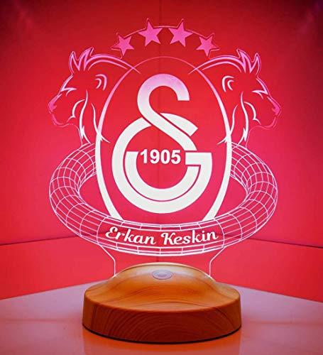 Geschenkelampe Personalisierte Geschenke mit Gravur Galatasaray Fanartikel 3D Led Lampe Wunschtext Schlummerlicht Farbwechsel Dekor Lampe
