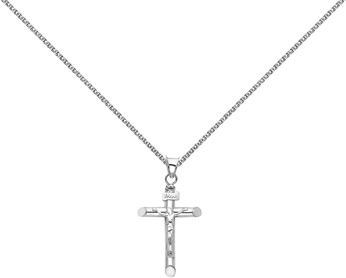 TGDJ 14k White Gold Crucifix Religious Cross Pendant with 1.3mm Flat Open Wheat Chain Necklace