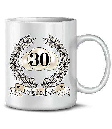 Hochzeitstag Perlen-hochzeit 30 Jahre Ehe Tasse Becher Hochzeitsjubiläum Kaffee Hochzeitstassen Geschenke Männer Frauen Hochzeitsgeschenk paare Partner pärchen Mann Frau paar-e zur jahrestag deko