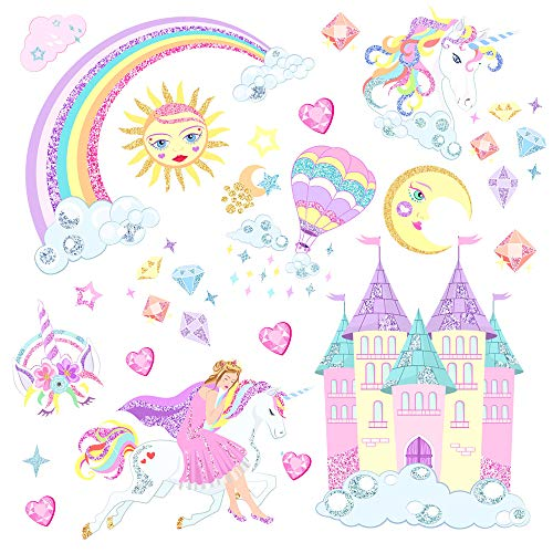 Mendom Happy Unicorn Wall Decal Rainbow Castle Glitter Wall Stickers Birthday Christmas Gifts for Girls Bedroom Nursery Home Decor