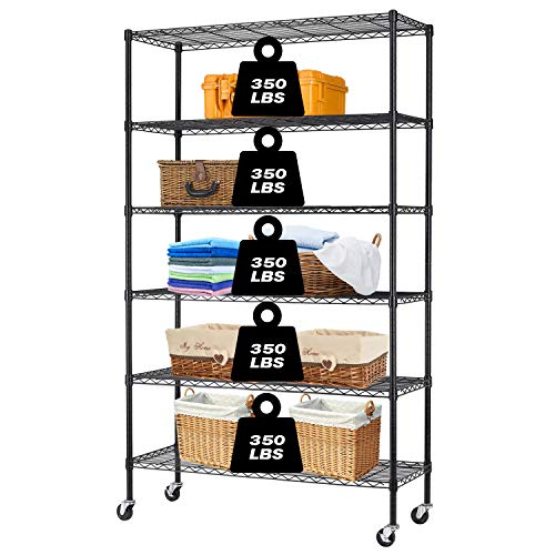 HCB 6-Tier Storage Shelf Heavy Duty Wire Shelving Unit 82x48x18 Height Adjustable Metal Steel Wire with Casters for Restaurant Garage Pantry Kitchen Rack Black