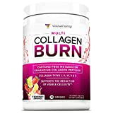 Multi Collagen Burn: Multi-Type Hydrolyzed Collagen Protein Peptides with Hyaluronic Acid, Vitamin C, SOD B Dimpless, Types I, II, III, V and X Collagen, Caffeine-Free, Strawberry Lemonade, 30 Serve