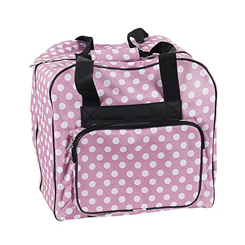 Over-Coverlock Tasche im Design rosa/weiß gepunktet