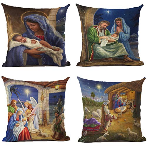 XIECCX Christmas Throw Pillow Covers 18x18 Inch Set of 4 Religious Outdoor Pillowcases Home Decorative Square Cotton Linen Cushion Cases for Couch Sofa Bed Breathable Linen with Hidden Zipper