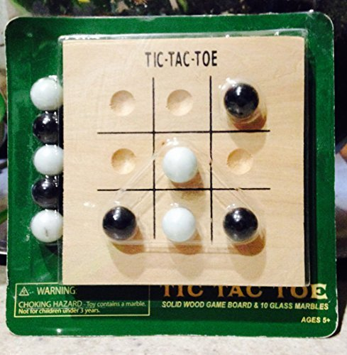 Fundex Tic Tac Toe Solid Wood Game Board & 10 Glass Marbles