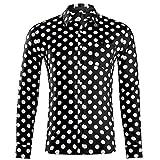 Generice - Camisa de manga larga para hombre, diseño de lunares